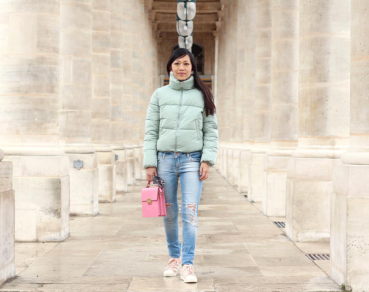 Petite and So What - Doudoune Bershka - Sac et Jeans Zara et Superstar rose