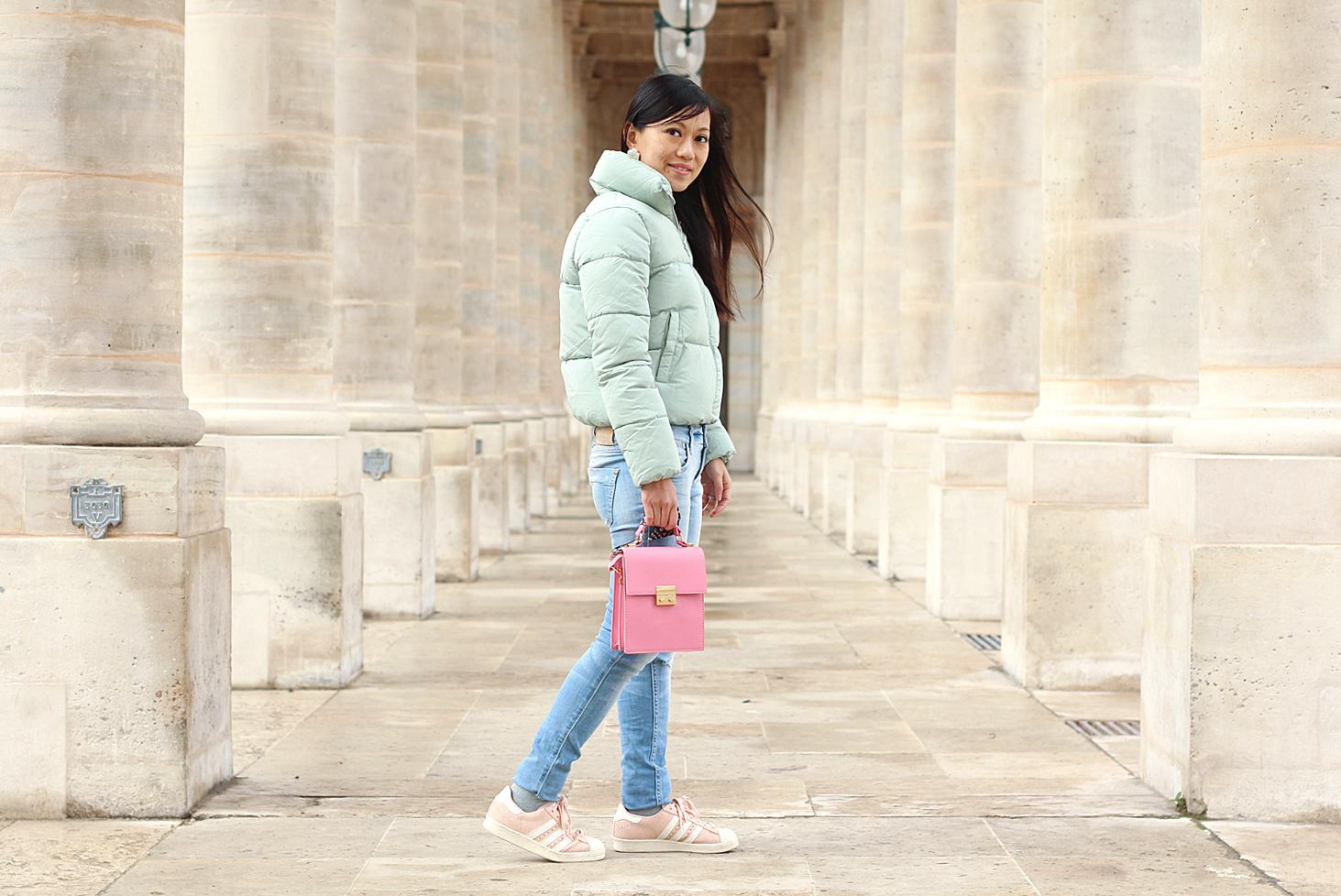 Petite and So What - tenue d'hiver aux couleurs pastels avec ma nouvelle doudoune Bershka col cheminée