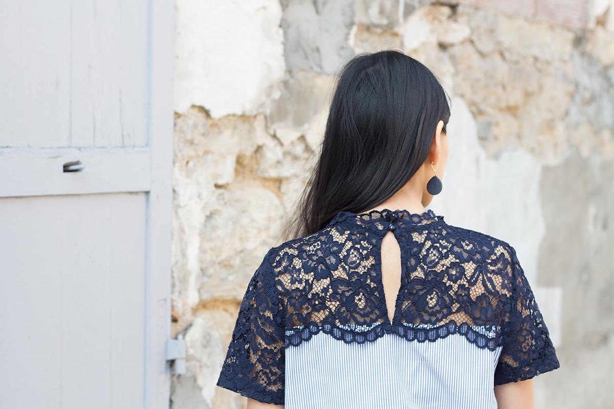 Petite and So What - Numéro un Polene bordeaux - Top Zara dentelle et rayures